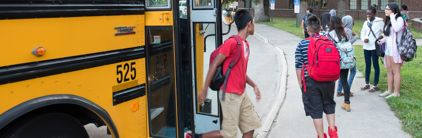 Callanan Middle School Students getting Off of Bus
