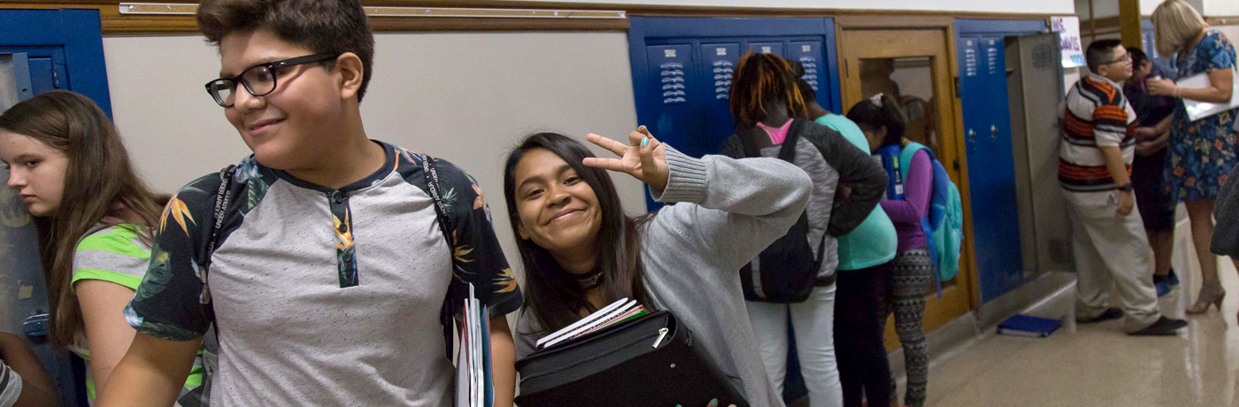 Callanan Middle School Students in Hallway Giving Peace Sign